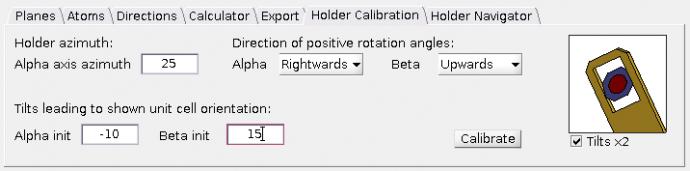 Holder calibration tab