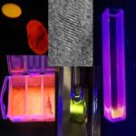 Flourescence křemíkových nano-krystalů pod UV lampou
