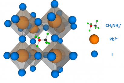 Example of perovskite structure of the most studied hybrid organo-metallic perovskite - CH3NH3PbI3.