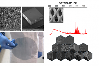 (upper left) Scanning electron microscopy image (top view) of a thick porous diamond layer; (upper centre) Scanning electron microscopy image of an heavily boron-doped epitaxial diamond layer deposited on a Ib high-pressure high-temperature diamond substrate; (upper right) Optical emission spectrum of a hydrogen, methane and phosphine plasma (inset) Scanning electron image of a nanocrystalline diamond coated titanium mesh; (bottom left) Picture of a 6-inch quartz wafer coated with boron-doped diamond; (bot