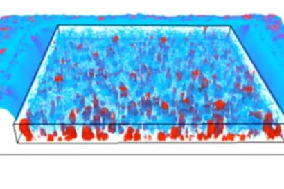 3D tomografic reconstruction of thin microcrystalline silicon film. Red objects are microcrystalline grains with higher conductivity, blue colour visualize the amorphous part of the film.