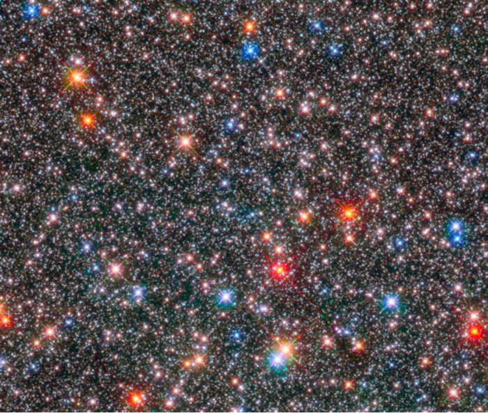 Stars in the centre of the Milky Way on a image taken by the Hubble Space Telescope.